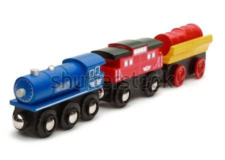 Zdjęcia stock: Drewniane · zabawki · pociągu · odizolowany · biały · niebieski