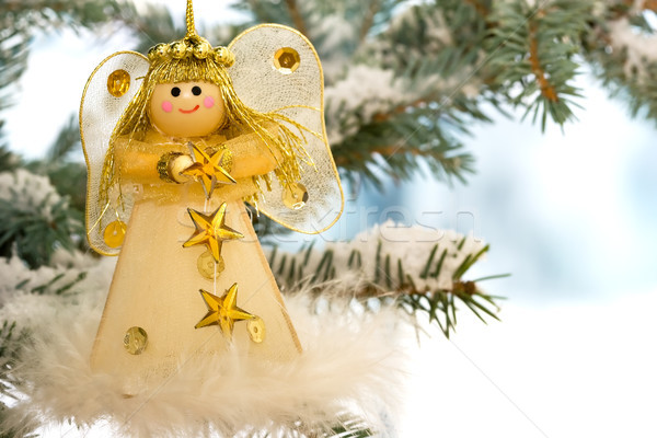 Christmas anioł śniegu drzewo zimą zabawy Zdjęcia stock © david010167