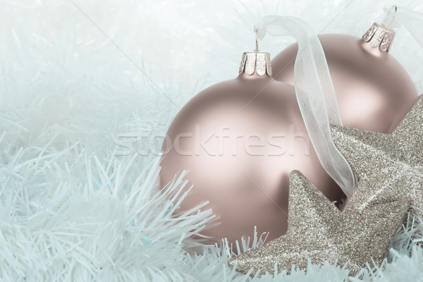 Cool colored christmas baubles and garland Stock photo © david010167