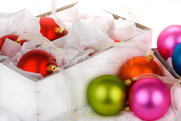Christmas cacko dekoracje pomarańczowy polu niebieski Zdjęcia stock © david010167
