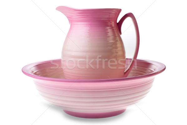 Rózsaszín kancsó tál izolált agyag Stock fotó © david010167