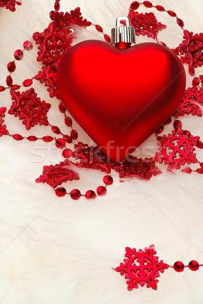 Kırmızı kalp beyaz kürk star renk Stok fotoğraf © david010167