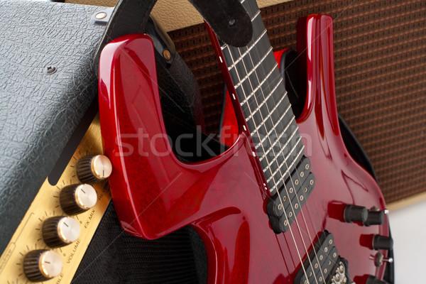 Stok fotoğraf: Kaya · gitar · kırmızı · elektrogitar · iki