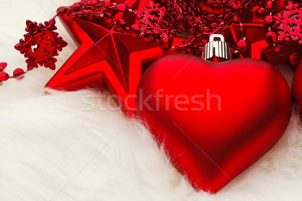 Christmas serca dekoracji biały futra czerwony Zdjęcia stock © david010167