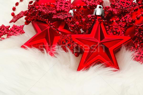 Christmas star dekoracji biały futra czerwony Zdjęcia stock © david010167