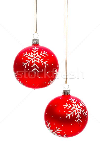 Dwa Snowflake christmas odizolowany biały czerwony Zdjęcia stock © david010167