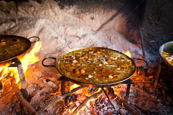 Cozinhar fogo local cozinha frango Óleo Foto stock © david010167