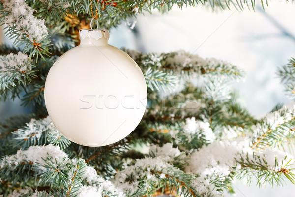 Biały szkła christmas cacko śniegu drzewo Zdjęcia stock © david010167