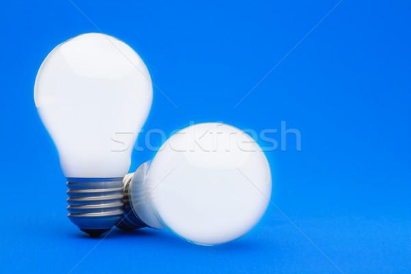 Dwa żarówki niebieski elektrycznej elektryczne Zdjęcia stock © david010167