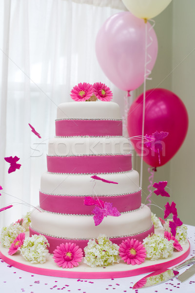 Hermosa pastel de bodas mariposas alimentos boda mariposa Foto stock © david010167