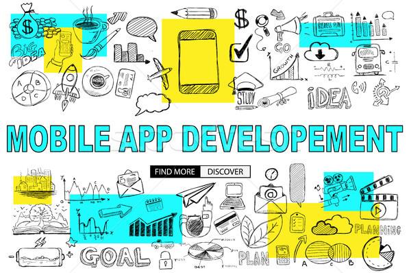 Mobile App Development with Doodle design style :reaching more c Stock photo © DavidArts