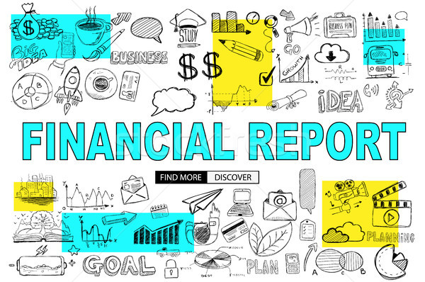Financial Report concept with Doodle design style: online purcha Stock photo © DavidArts