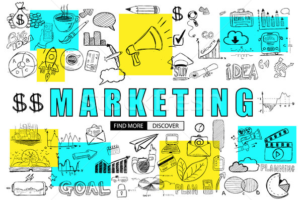 Marketing Business Concept with Doodle design style :finding sol Stock photo © DavidArts
