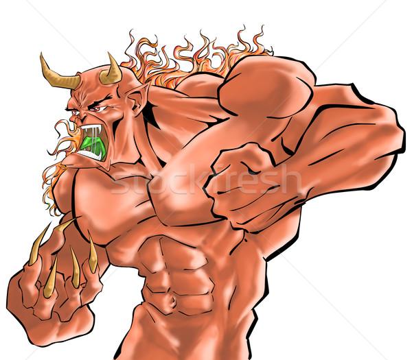 демон истребитель зеленый Scream осуществлять мышцы Сток-фото © davisales