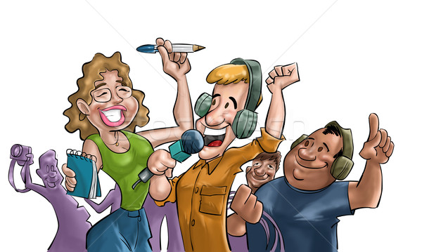 счастливым команда вечеринка телевидение дизайна искусства Сток-фото © davisales