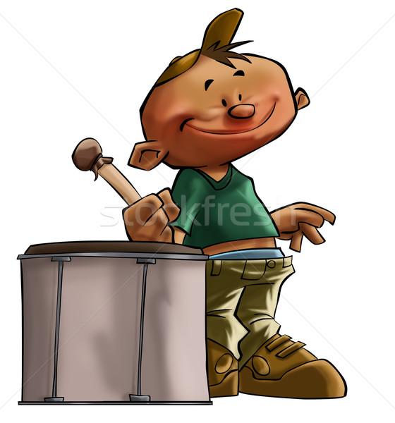 мало барабанщик мальчика большой улыбка музыку Сток-фото © davisales