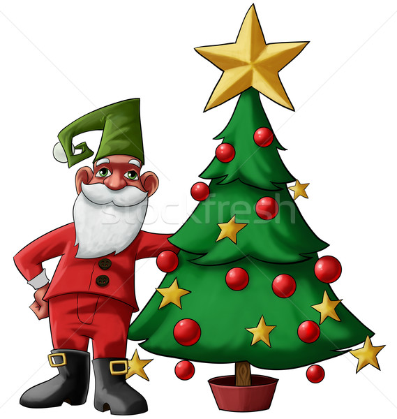 Gnom drzewo Święty mikołaj choinka uśmiech dziecko Zdjęcia stock © davisales