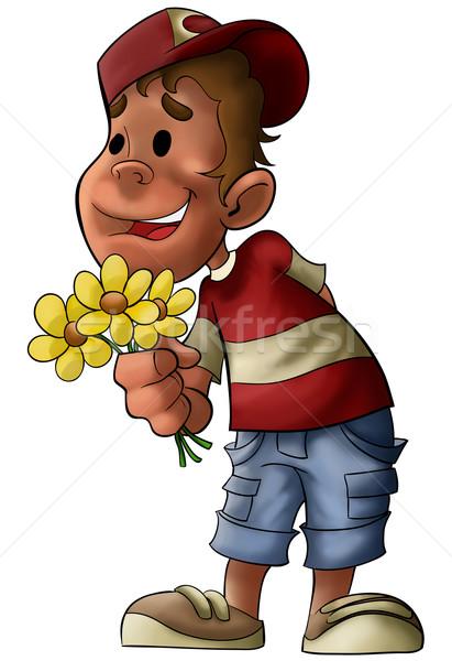 Chłopca kwiaty ręce czeka uśmiech szczęśliwy Zdjęcia stock © davisales