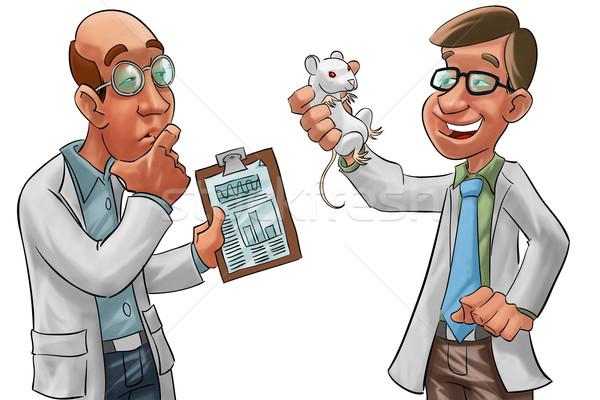 Naukowcy dwa jeden laboratorium szczur strony Zdjęcia stock © davisales