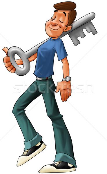 Garçon grand clé jeune homme main Photo stock © davisales