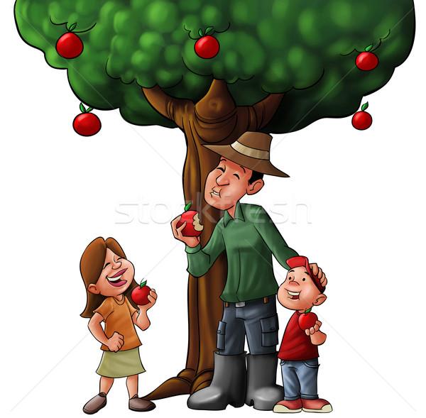 Famille arbre alimentaire manger homme heureux Photo stock © davisales