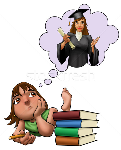 Jeune fille étudier jeunes filles Photo stock © davisales