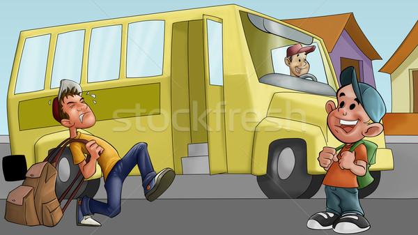 little boy and schoolbus Stock photo © davisales