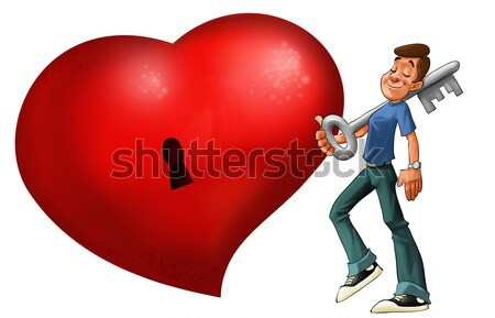 Groot Rood hart man sleutel glimlach Stockfoto © davisales