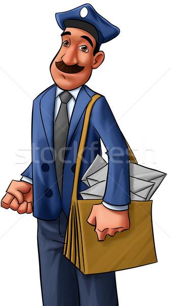 Postás felnőtt nagy bajusz papír mosoly Stock fotó © davisales