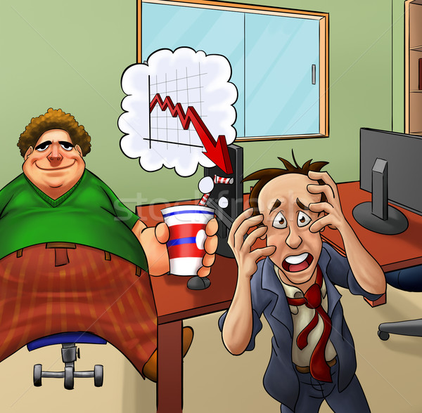 Crazy biuro zdenerwowany tłuszczu leniwy pracodawca Zdjęcia stock © davisales