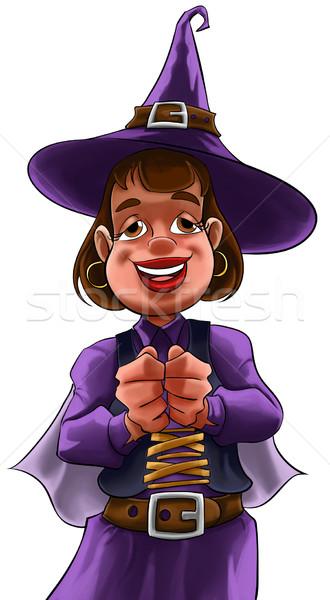 Mały witch młoda dziewczyna fioletowy sukienka Zdjęcia stock © davisales