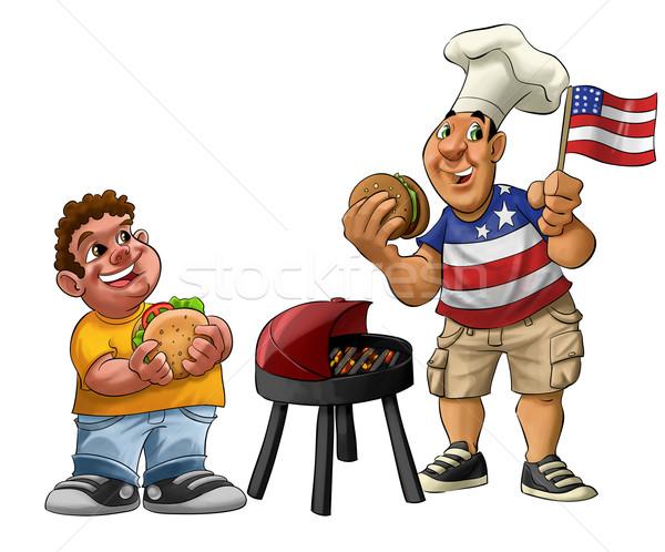 Amerykański grill tłuszczu facet jedzenie hamburger Zdjęcia stock © davisales