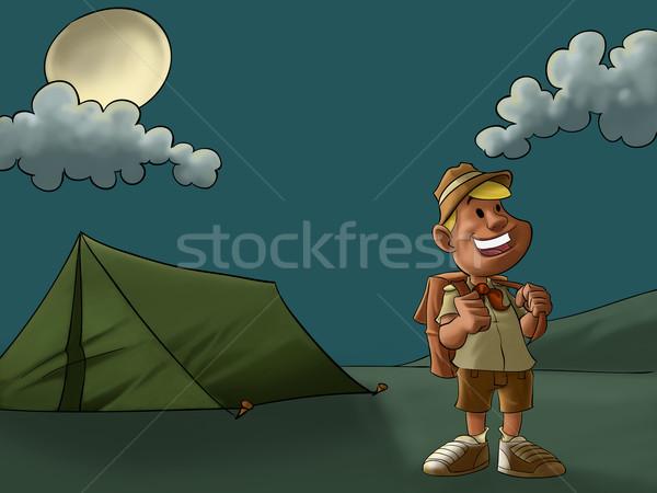 Kamp izci genç mutlu ay ışığı gülümseme Stok fotoğraf © davisales
