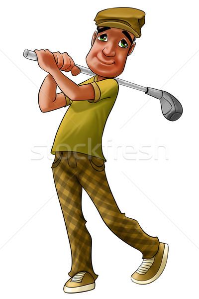 Jogador de golfe balançar assistindo bola longe grama Foto stock © davisales