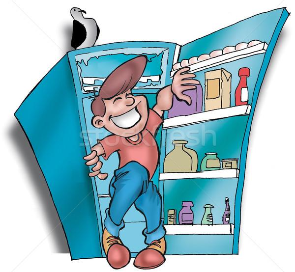Homme réfrigérateur garçon conservation Photo stock © davisales
