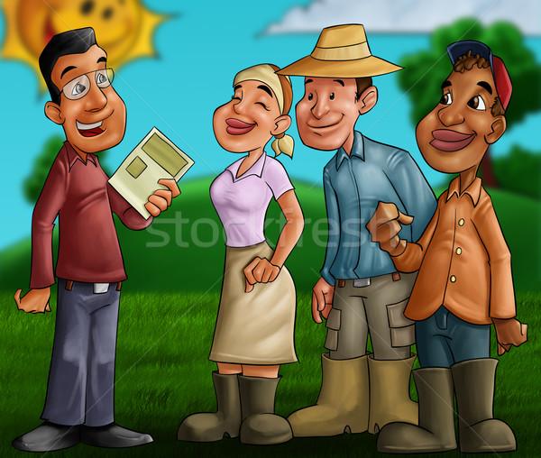 Personnes domaine gens parler homme ciel sourire Photo stock © davisales