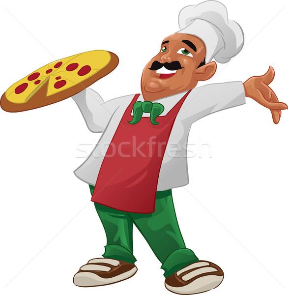 Heureux grand délicieux pizza alimentaire Photo stock © davisales