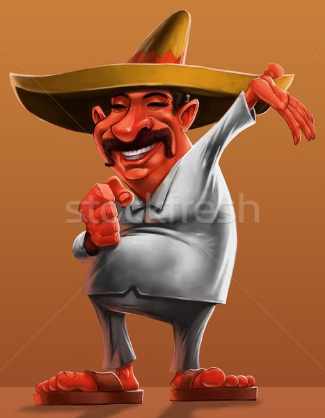 ストックフォト: メキシコ料理 · 伝統的な · ソンブレロ · 笑みを浮かべて · 食品 · 笑顔