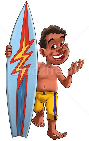 Surf garçon jeunes brun bord jaune Photo stock © davisales