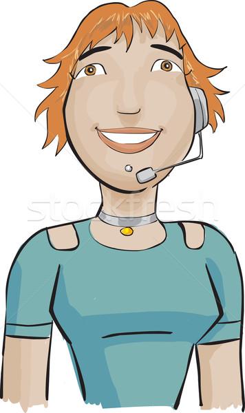 Call center dziewczyna zielone duży kobieta telefonu Zdjęcia stock © davisales