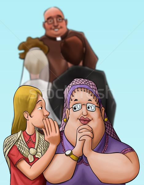 Padre cerimônia de casamento casal mulher menina Foto stock © davisales