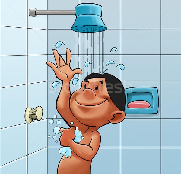 Prysznic chłopca kąpieli pokój Zdjęcia stock © davisales