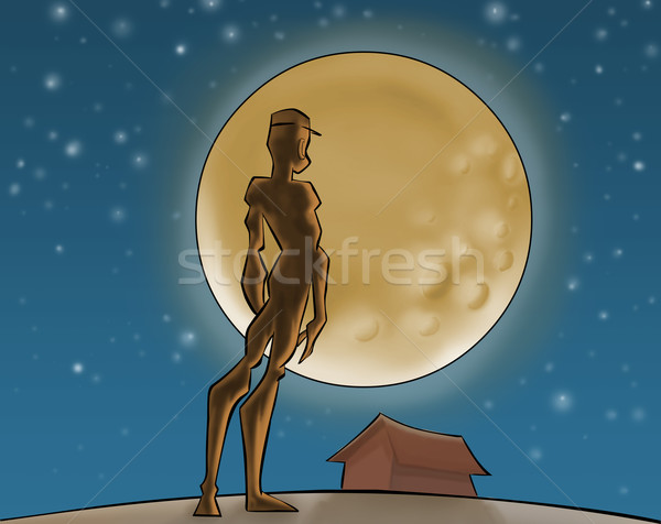 The moon and the boy Stock photo © davisales