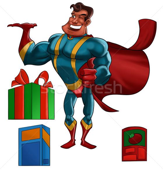 スーパーヒーロー 製品 漫画 実例 赤 笑みを浮かべて ストックフォト © davisales