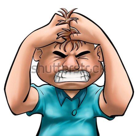 Zły facet włosy niebieski krzyk usta Zdjęcia stock © davisales