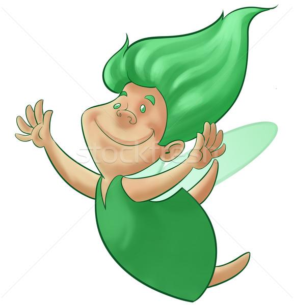 зеленый фея счастливым Flying волос девушки Сток-фото © davisales
