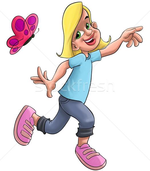 Dziewczyna Motyl blond młoda dziewczyna uruchomiony wiosną Zdjęcia stock © davisales