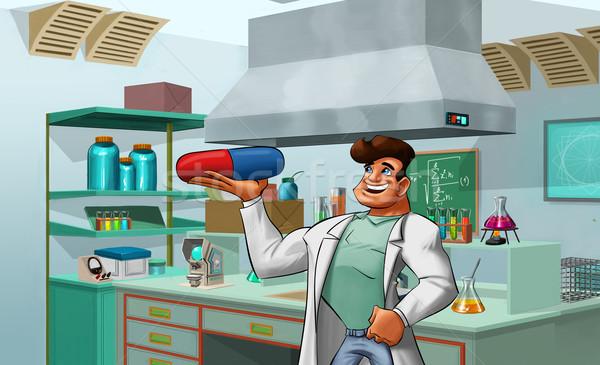 Laboratórium medikus tudós nagy tabletta kéz Stock fotó © davisales