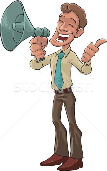 Heureux mégaphone patron main affaires homme Photo stock © davisales