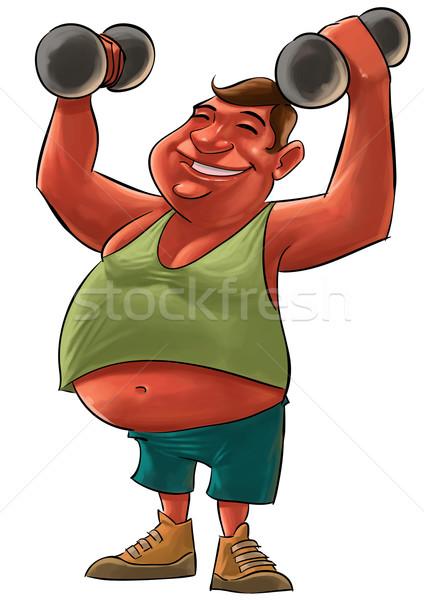 Grubas tłuszczu młody człowiek uśmiechnięty hantle Zdjęcia stock © davisales